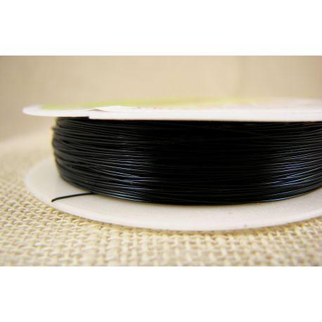 Žalvarinė vielutė rankdarbiams, papuošalams, juodos spalvos, storis apie 0.30 mm, ritėje apie 28 metrus