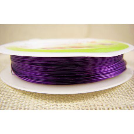 Žalvarinė vielutė rankdarbiams, papuošalams, violetinės spalvos, storis apie 0.30 mm, ritėje apie 28 metrus