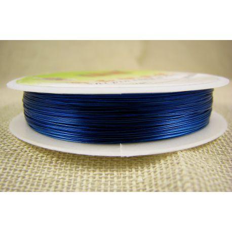 Žalvarinė vielutė rankdarbiams, papuošalams, mėlynos spalvos, storis apie 0.30 mm, ritėje apie 28 metrus