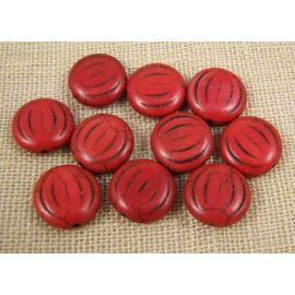 Sintetinio turkio moneta, rudai raudonos spalvos, dydis 15x5 mm
