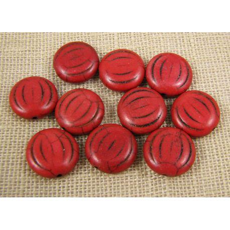 Sintetinio turkio karoliukai, rudai raudonos spalvos, monetos formos, dydis 15x5 mm