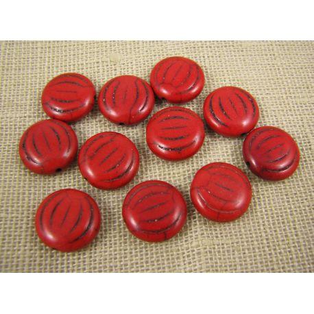 Sintetinio turkio karoliukai, raudonos spalvos, monetos formos, dydis 15x5 mm
