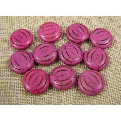 Sintetinio turkio karoliukai, rožinės spalvos, monetos formos, dydis 15x5 mm