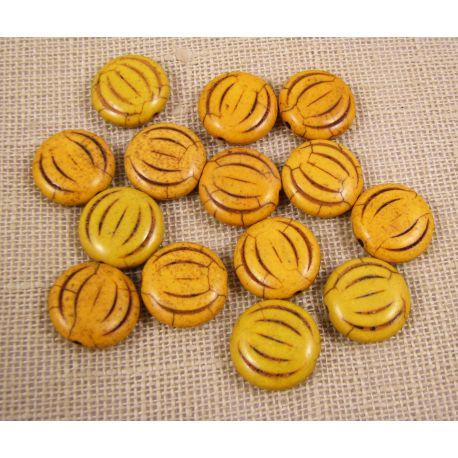Sintetinio turkio moneta, geltonos spalvos, dydis 15x5 mm