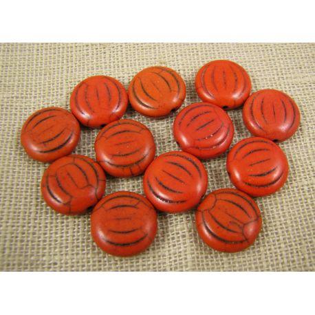 Sintetinio turkio karoliukai, oranžinės spalvos, monetos formos, dydis 15x5 mm