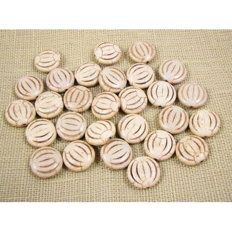 Sintetinio turkio karoliukai, rusvai baltos spalvos, monetos formos, dydis 15x5 mm