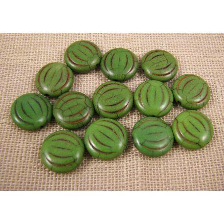 Sintetinio turkio moneta, žalios spalvos, dydis 15x5 mm