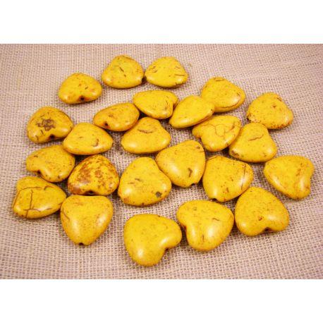 Sintetinio turkio karoliukai, geltonos spalvos, širdelės formos, dydis 20x20 mm
