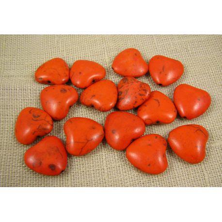 Sintetinio turkio karoliukai, oranžinės spalvos, širdelės formos, dydis 20x20 mm