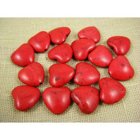 Sintetinio turkio karoliukai, raudonos spalvos, širdelės formos, dydis 20x20 mm