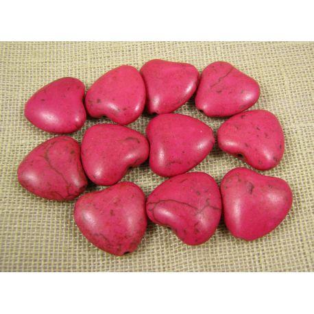 Sintetinio turkio karoliukai, ryškiai rožinės spalvos, širdelės formos, dydis 20x20 mm