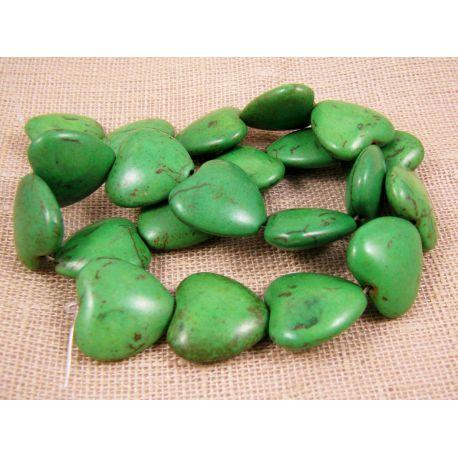 Sintetinio turkio karoliukai, žalios spalvos, širdelės formos, dydis 20x20 mm