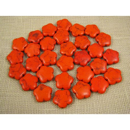 Sintetinio turkio karoliukai, oranžinės spalvos, gėlytės formos, dydis 15 mm