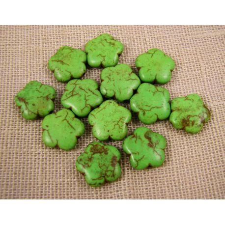 Sintetinio turkio karoliukai, žalios spalvos, gėlytės formos, dydis 15 mm