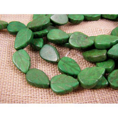 Sintetinio turkio karoliukai, žalios spalvos, lapo formos, dydis 14x9 mm