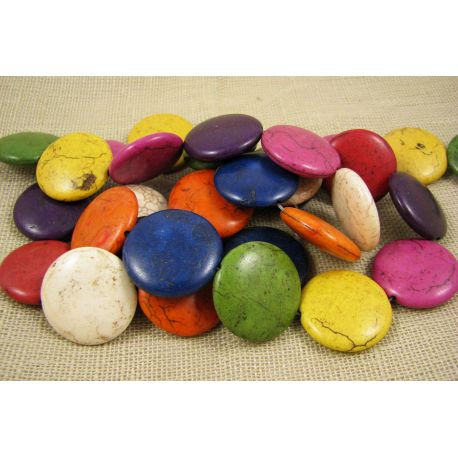 Sintetinio turkio karoliukai-gija, įvairių spalvų, monetos formos, dydis 25 mm