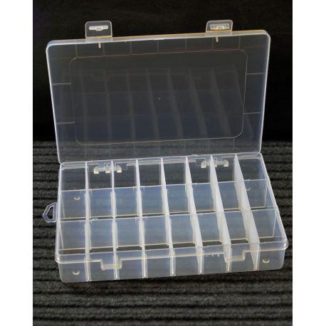 Dėžutė karoliukams, su 24 skyreliais, borteliai išsiema, dydis 200x140x40 mm