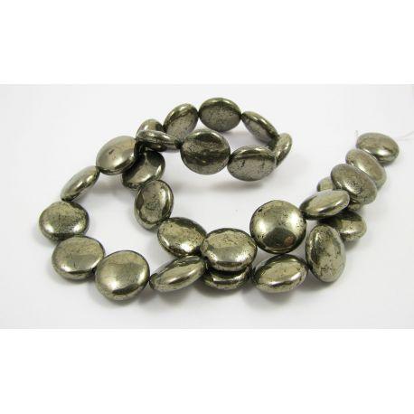 Pirito akmeninių karoliukų gija, monetos formos, blizgūs 14 mm dydžio