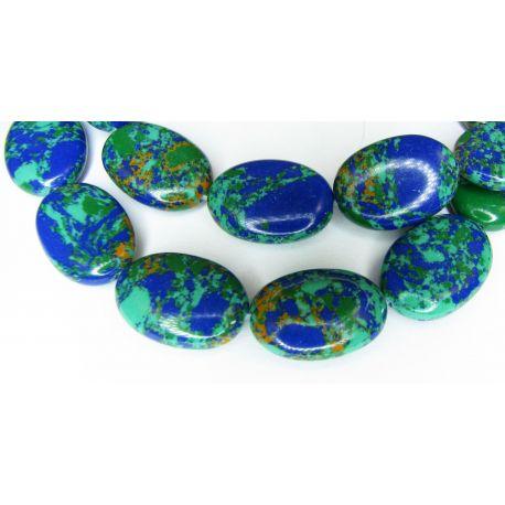 Sintetinio turkio karoliukai,žalios - mėlynos spalvos, margi, ovalo formos, dydis 18x13 mm