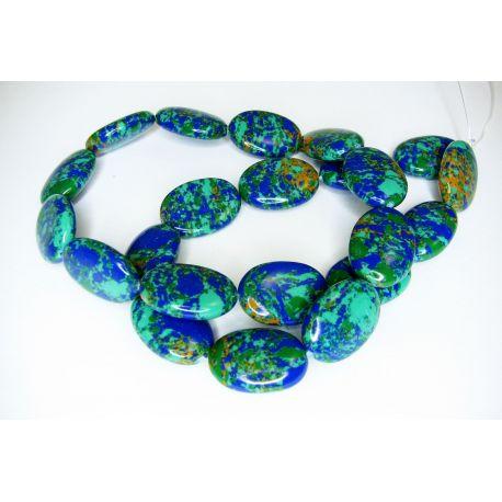 Sintetinio turkio karoliukų gija,žalios - mėlynos spalvos, margi, ovalo formos, dydis 18x13 mm