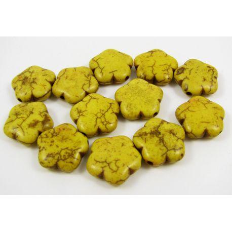 Sintetinio turkio karoliukai, geltonos spalvos, gėlytės formos, dydis 15 mm