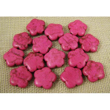 Sintetinio turkio karoliukai, ryškiai rožinės spalvos, gėlytės formos, dydis 15 mm