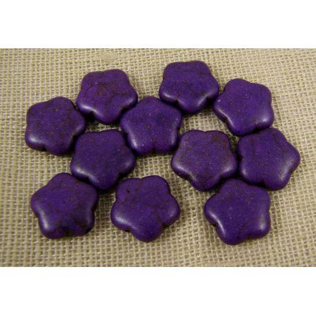 Sintetinio turkio karoliukai, violetinės spalvos, gėlytės formos, dydis 15 mm