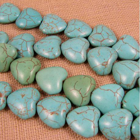Sintetinio turkio karoliukai, žaliai žydros spalvos, šidelės formos, dydis 18 mm