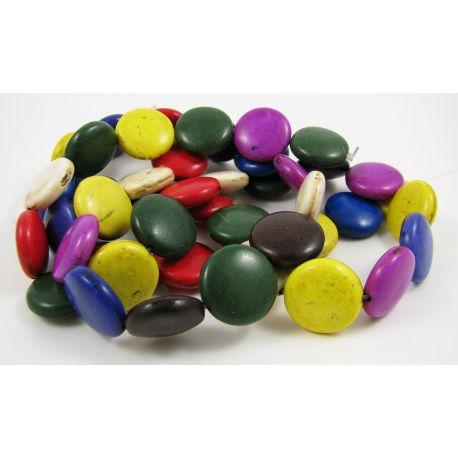 Sintetinio turkio karoliukai-gija, įvairių spalvų, moneots formos, dydis 16 mm