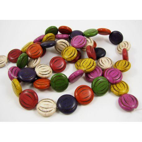 Sintetinio turkio karoliukai-gija, įvairių spalvų, moneots formos, dydis 15 mm