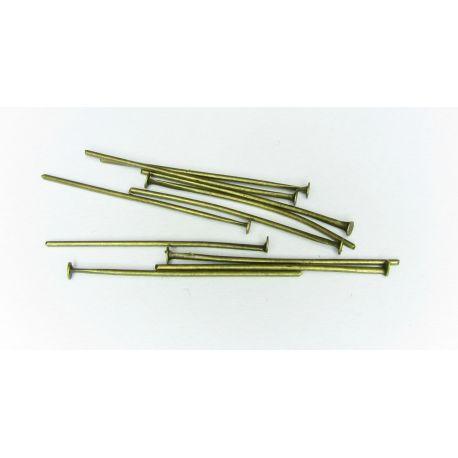 Smeigtukai skirti papuošalų gamybai bronzinės spalvos plokščia galvute 30x0,75 mm