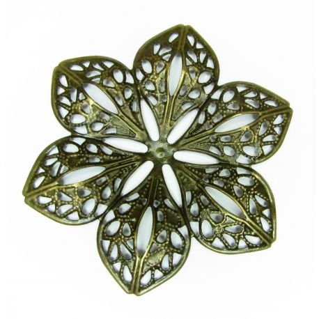 Ažūrinė plokštelė skirta papuošalų gamybai, sendintos bronzinės spalvos, 60 mm