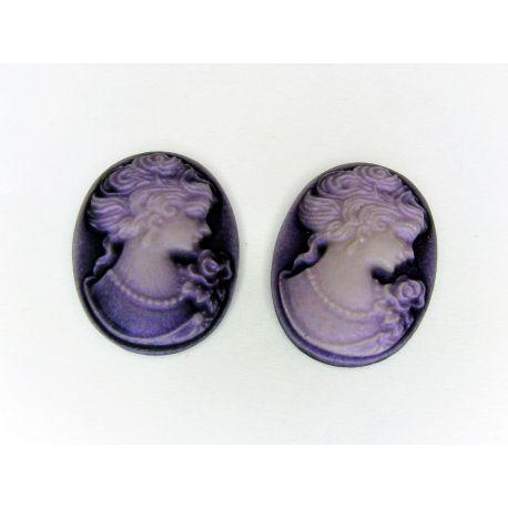 Kamėja violetinės spalvos ovalo formos 25x18 mm 1 vnt