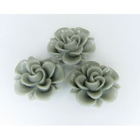 Kamėja - gėlytė rankdarbiams, pakabukams pilkos spalvos 19x9 mm