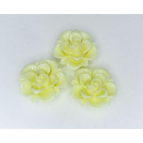 """Kamėja """"Gėlytė"""" skirta papuošalų gamybai geltonos spalvos 19x9 mm"""