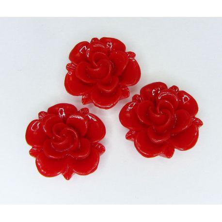 Kamėja - gėlytė rankdarbiams, pakabukams raudonos spalvos 19x9 mm