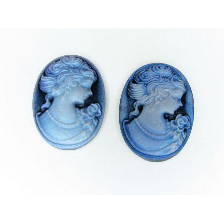 "Kamėja ""Damos portretas"" mėlynos spalvos ovalo formos 25x18 mm"