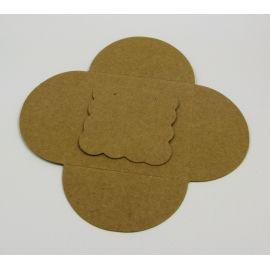 Kortelė auskarams + vokelis, rudos spalvos 50x50 mm, 1 vnt.