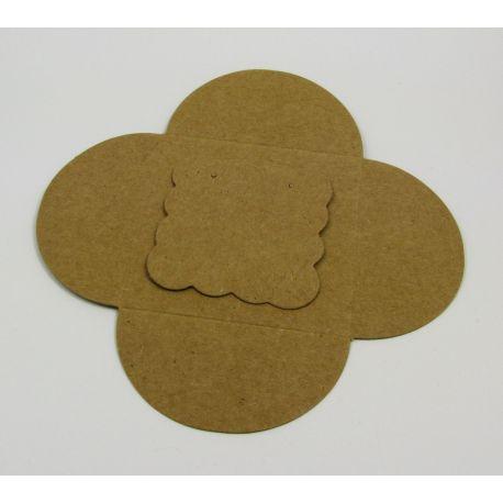 Papuošalų, rankdarbių eksponavimo kortelė auskarams + vokelis, rudos spalvos 50x50 mm