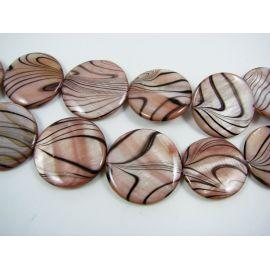 Perlų masės karoliukai, baltos, rausvos spalvos, monetos formos,24-26 mm