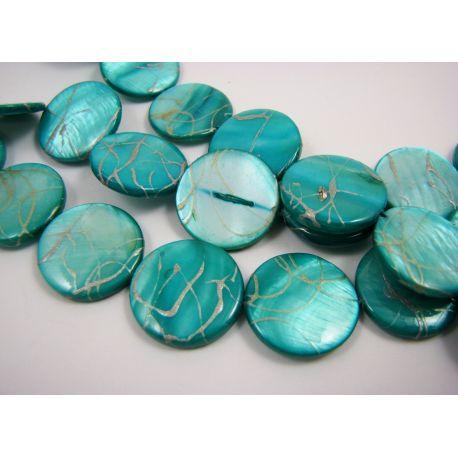 Perlų masės karoliukai, melsvai žalios spalvos su sidabro spalvos juostelėmis, monetos formos, 20 mm
