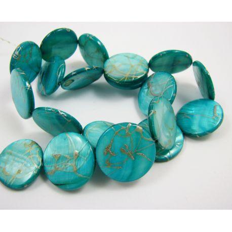 Perlų masės karoliukų gija, melsvai žalios spalvos su sidabro spalvos juostelėmis, monetos formos, 20 mm