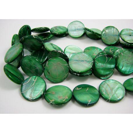 Perlų masės karoliukai, žalios spalvos su sidabro spalvos juostelėmis, monetos formos, 20 mm