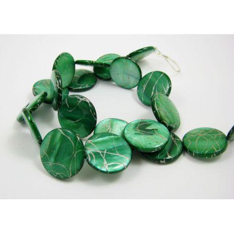 Perlų masės karoliukų gija, žalios spalvos su sidabro spalvos juostelėmis, monetos formos, 20 mm