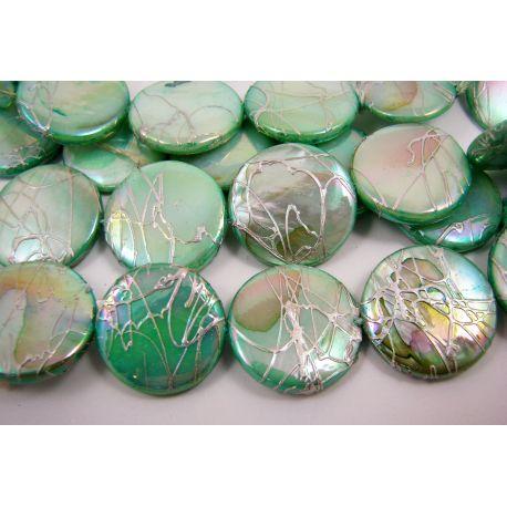 Perlų masės karoliukai, šviesiai žalios spalvos su AB danga ir sidabro spalvos juostelėmis, monetos formos, 20 mm