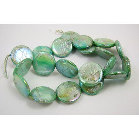 Perlų masės karoliukų gija, šviesiai žalios spalvos su AB danga ir sidabro spalvos juostelėmis, monetos formos, 20 mm