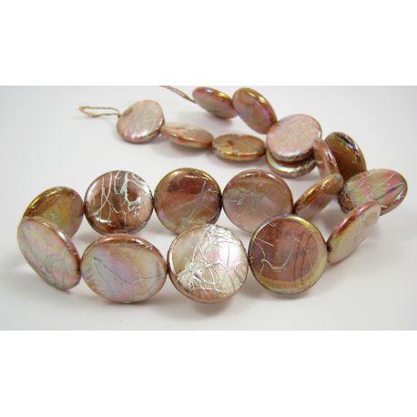 Perlų masės karoliukų gija, šviesiai rusvos spalvos, monetos formos,20 mm