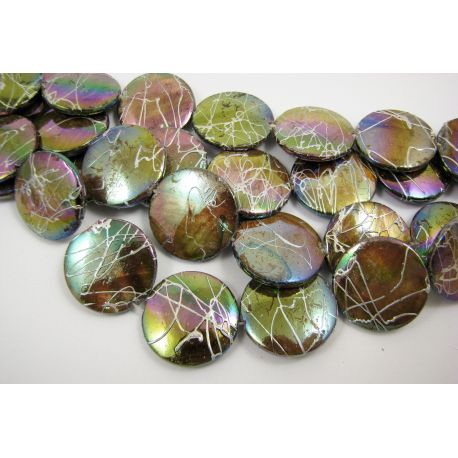 Perlų masės karoliukai, rudos spalvos su AB danga ir sidabro spalvos juostelėmis, monetos formos, 20 mm