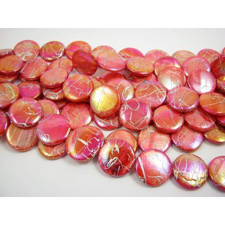 Perlų masės karoliukai, raudonos spalvos su AB danga ir sidabro spalvos juostelėmis, monetos formos, 20 mm
