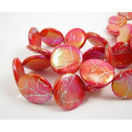 Perlų masės karoliukų gija, raudonos spalvos su AB danga ir sidabro spalvos juostelėmis, monetos formos, 20 mm